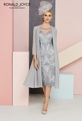 Silver grey Dress and Chiffon Coat #1100