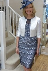 John Charles Navy and Ivory lace dress#17