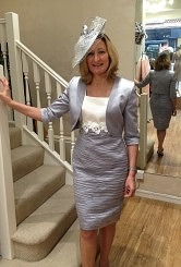 Silver grey and ivory ruched dress with matching bolero#06