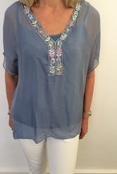 Blue chiffon top with cami underlay