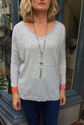 Grey colour block cashmere and wool jumper