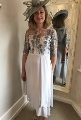 Silver grey lace with chiffon skirt #404