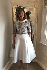 Silver grey aline dress with lace top #403