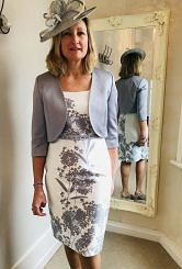 Silver /Ivory flower print dress and jacket #495