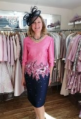 Navy/pink dress with sleeve