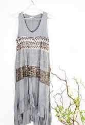 Grey dress with up and down frill #600