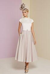 Veni Infantino Ivory/Taupe A Line dress
