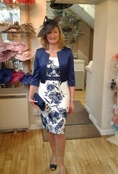 Stunning navy/ivory flower print dress with matching navy bolero#03