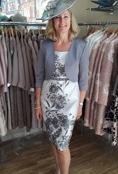 Silver and charcoal flower print dress and jacket