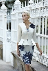 Navy and Champagne dress and jacket
