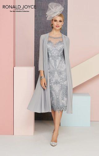 Silver grey Dress and Chiffon Coat #1100