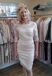 Stone/Silver dress with lace sleeve
