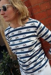 Ride a bike striped breton top #155