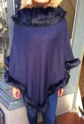 Navy Blue poncho with faux fur trim