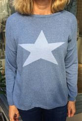 Denim blue star jumper