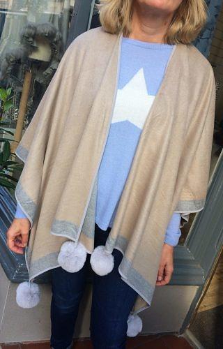Cashmere knit poncho one size
