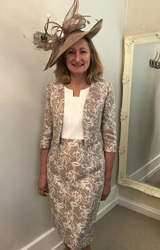 Taupe/Ivory dress with matching jacket #350