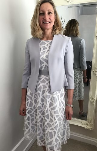 Grey/Ivory aline dress #352