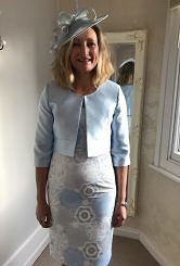 Pale blue shift dress and jacket #426