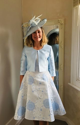 Pale blue dress with up and down hem #425
