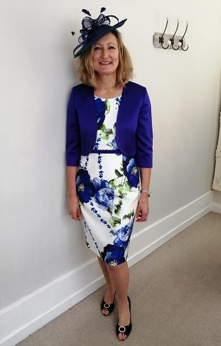 Royal blue flowered dress with matching jacket #2900