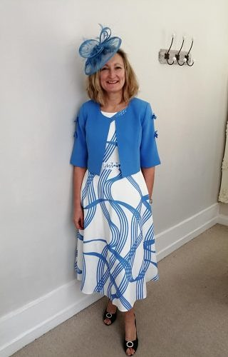 Bluebell/Ivory dress and matching jacket #3006