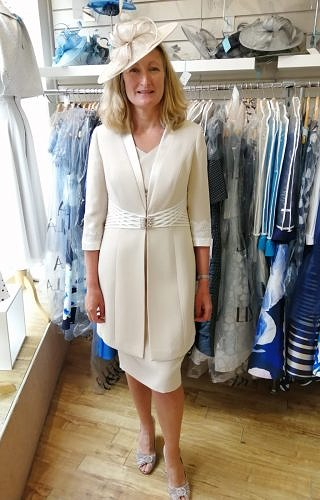 Almond/Ivory dress and coat #1111